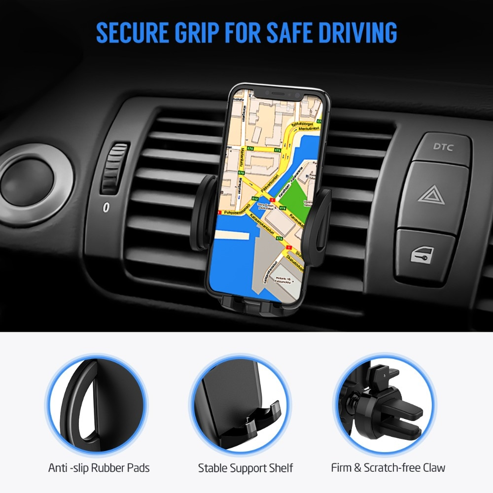 Hd675e4fc73ab4d9da1d2c5bb6d497f74V - Mpow Air Vent Car Mount Holder Universal Cell Phone Cradle 3-level Adjustable Clamp Mobile Phone Stand Cradle For iPhone X/8/7/6
