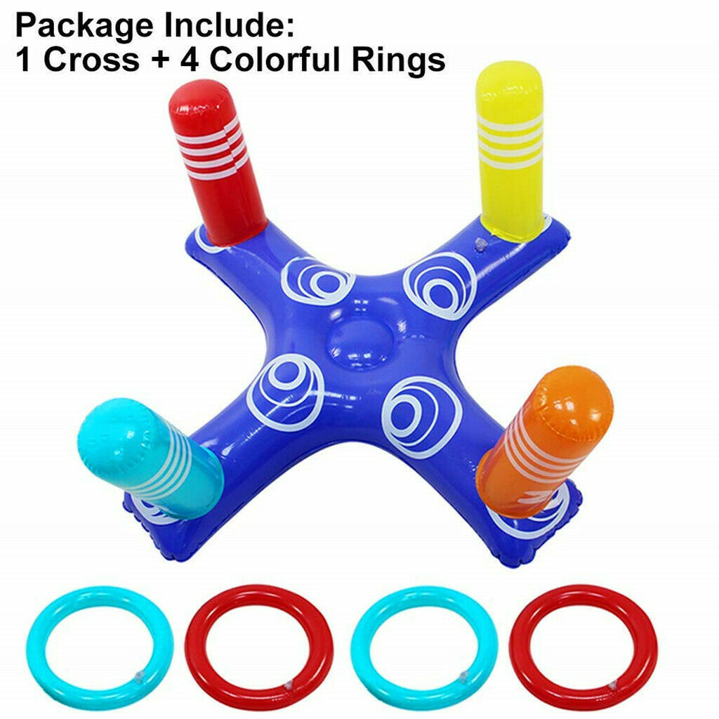 Hd6f6be68d7b047da9a57ae30228b8298u - Inflatable Ring Toys Swimming Pool Floating Ring Summer Water Beach Cross Ring Toss Game With 4PCS Rings For Children /Adults