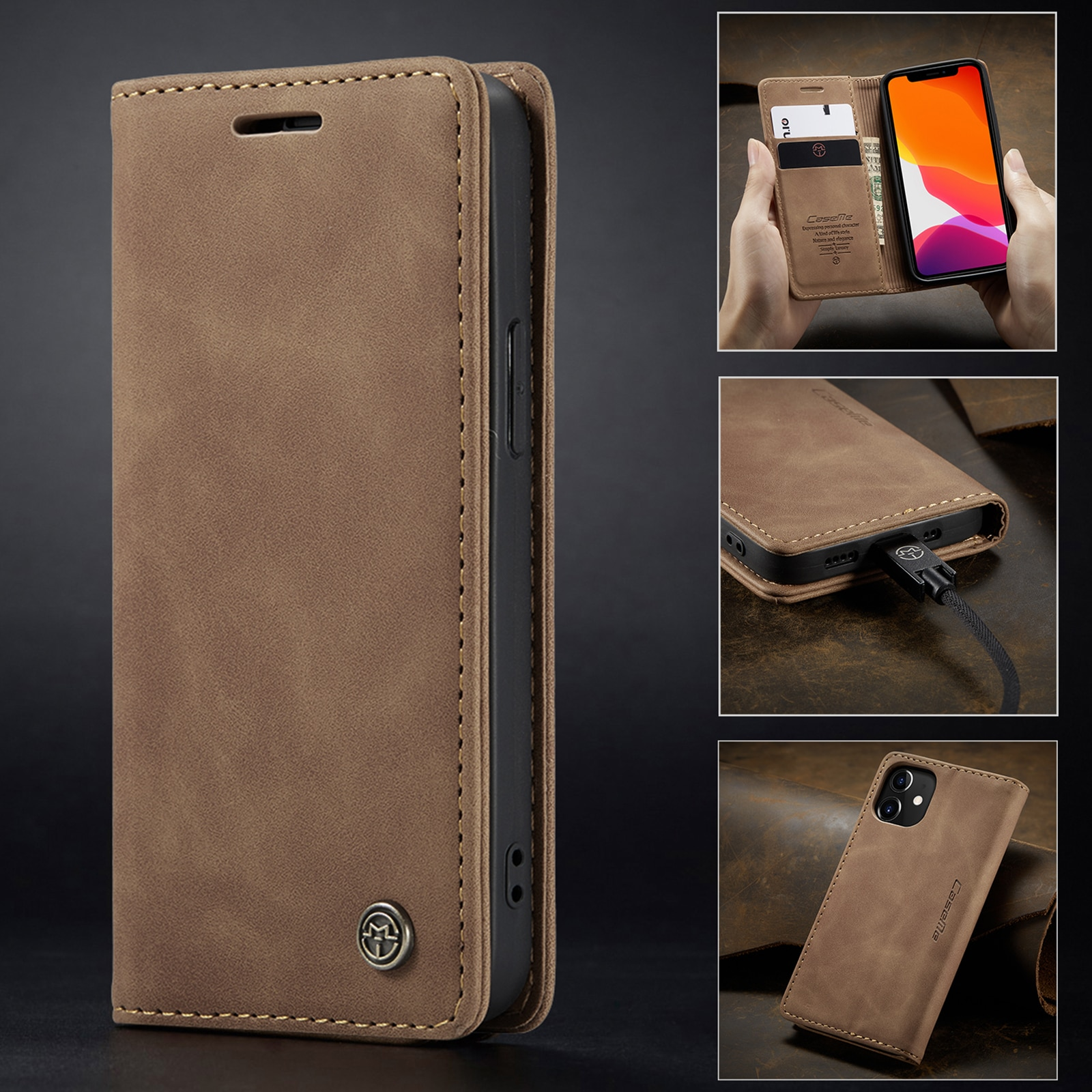Hd8bc56533a6a4a39aef04d41a73327fb6 - Magnetic Leather Flip Case For iPhone 12 / Pro / Pro Max PU Leather Fitted Bumper Soft Retro Flip Case Book Wallet Cover