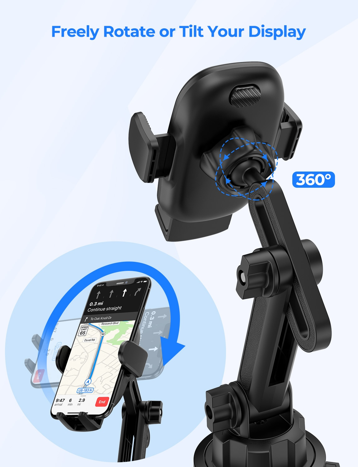 Hd8c50b21dcaa4416955e08c4e7525a3d3 - MPOW CA158 Phone Mount Adjustable Cup Holder Car Mount with Long Gooseneck 360 Degrees Rotation Compatible with iPhone Galaxy