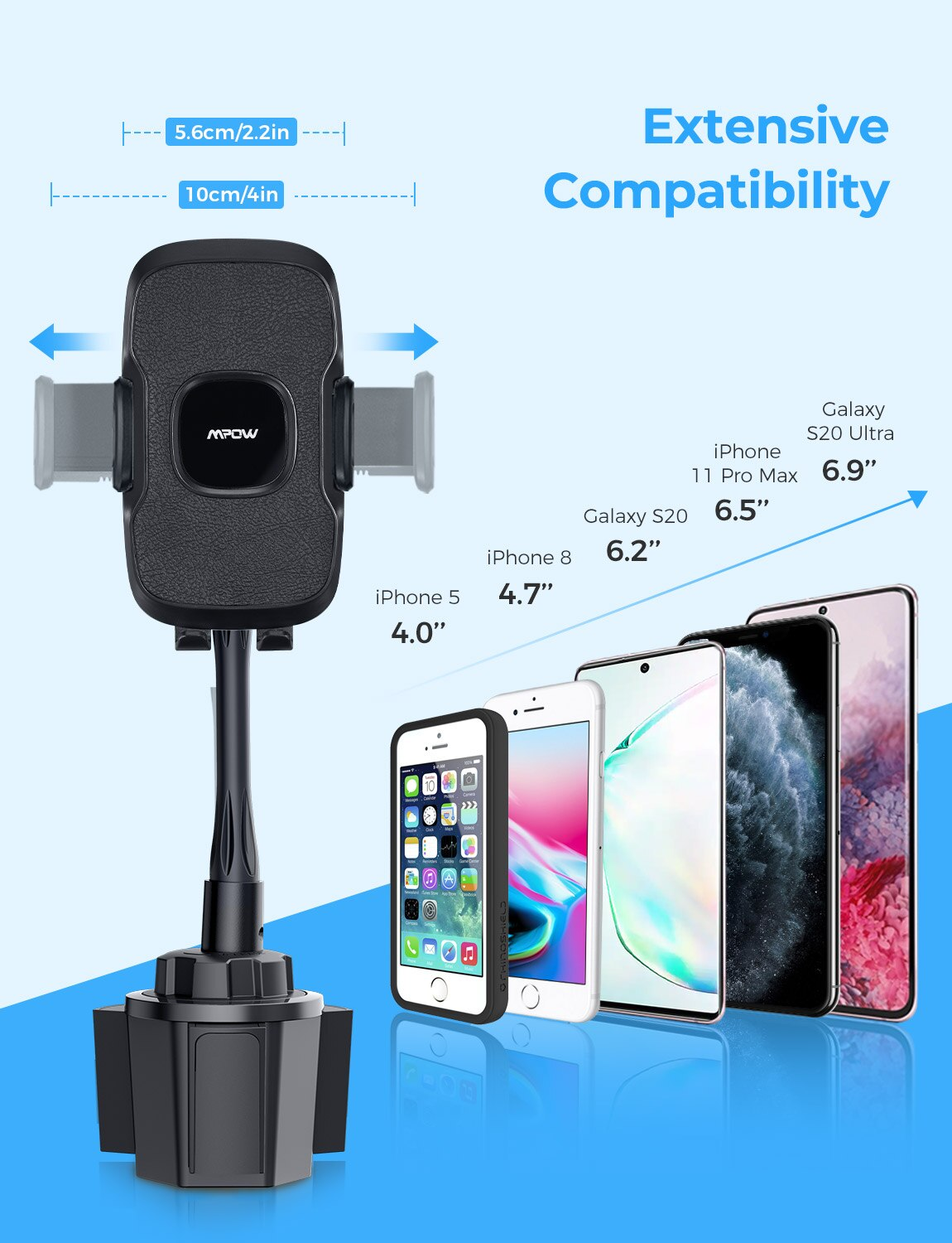 Hda19b828abb74490936293d1a7c12b68B - MPOW CA136 Cup Phone Holder for Car One-Hand Operation Phone Cradle Mount Flexible Long Arm Adjustable Clamp for iPhone Galaxy