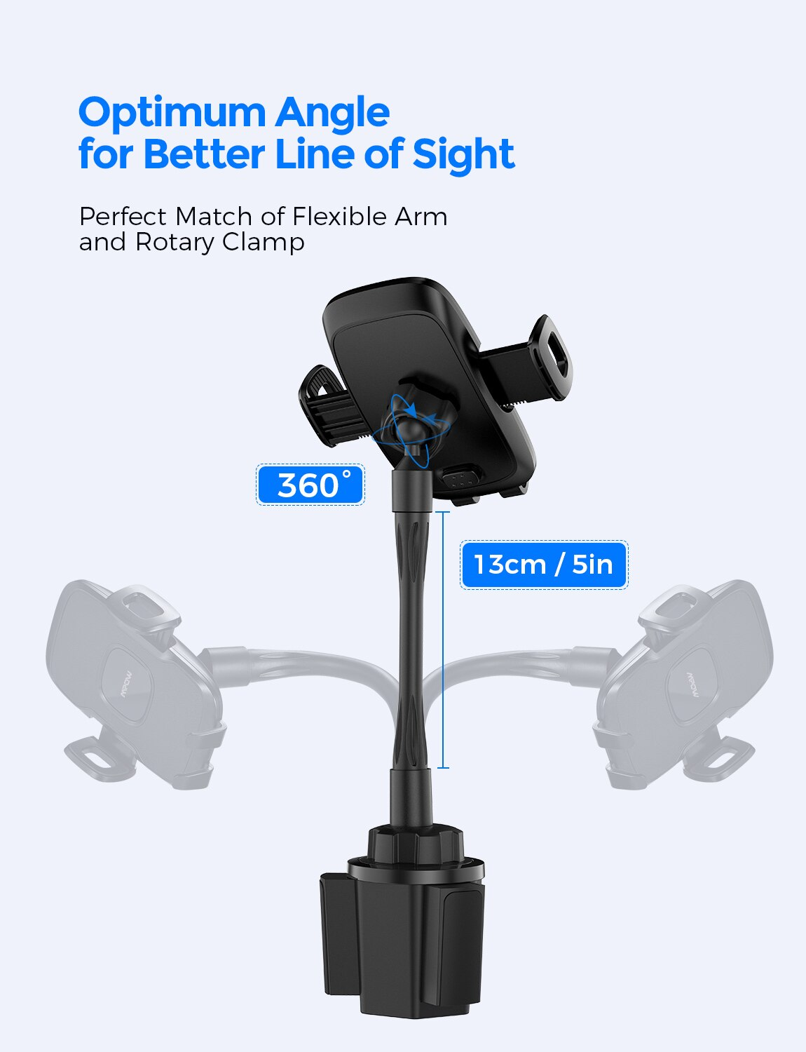 Hdb5870c92e894a3686e57226217061fdc - Mpow CA136 Car Phone Holder 360 Degree Flexible Long Arm and Adjustable Clamp Universal Phone Cradle Mount for For iPhone 12 XS