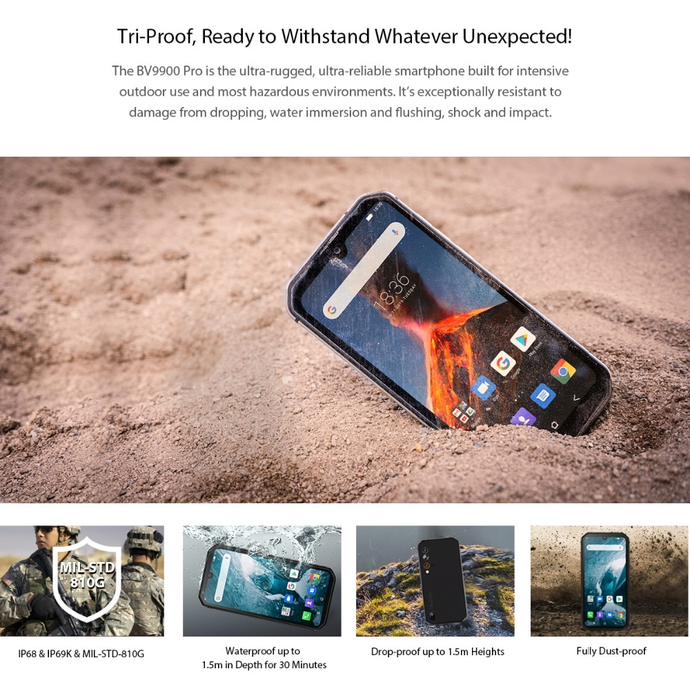 Hdb9bfe96a07f4be488d03735bf8a7583J - Blackview BV9900 Pro Thermal Camera Mobile Phone Helio P90 Octa Core 8GB 128GB IP68 4G Rugged Smartphone 48MP Quad Rear Camera