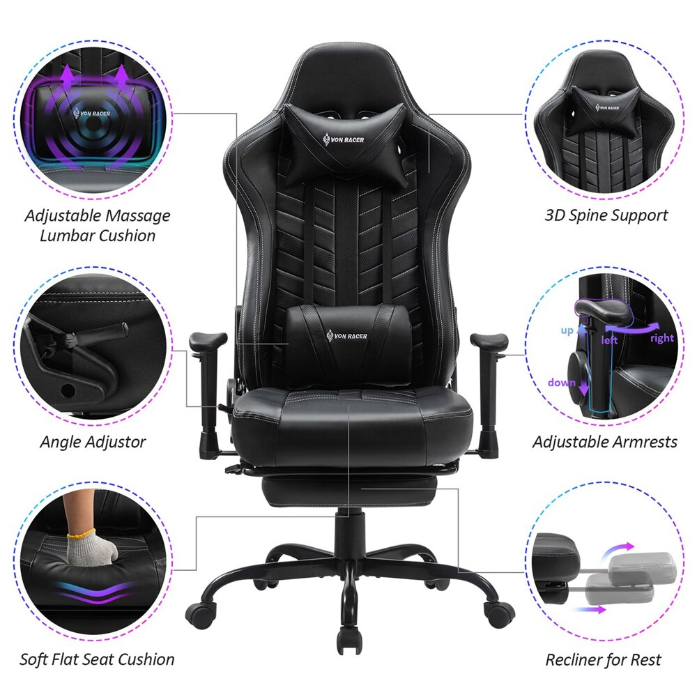 Hdbe805e93c1a44539c7c1df55ba0e293O - Gaming Chair Office Chairs Silla Gamer Comfortable Executive Seating Racer PU Leather Game Chairs