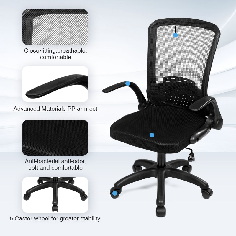 Hddef780f9fde4b69826dc4a28ac76773g - Rotating Mesh Chair Breathable Adjustable Height Foldable Computer Chair Ergonomic Executive Black Office Chair Furniture