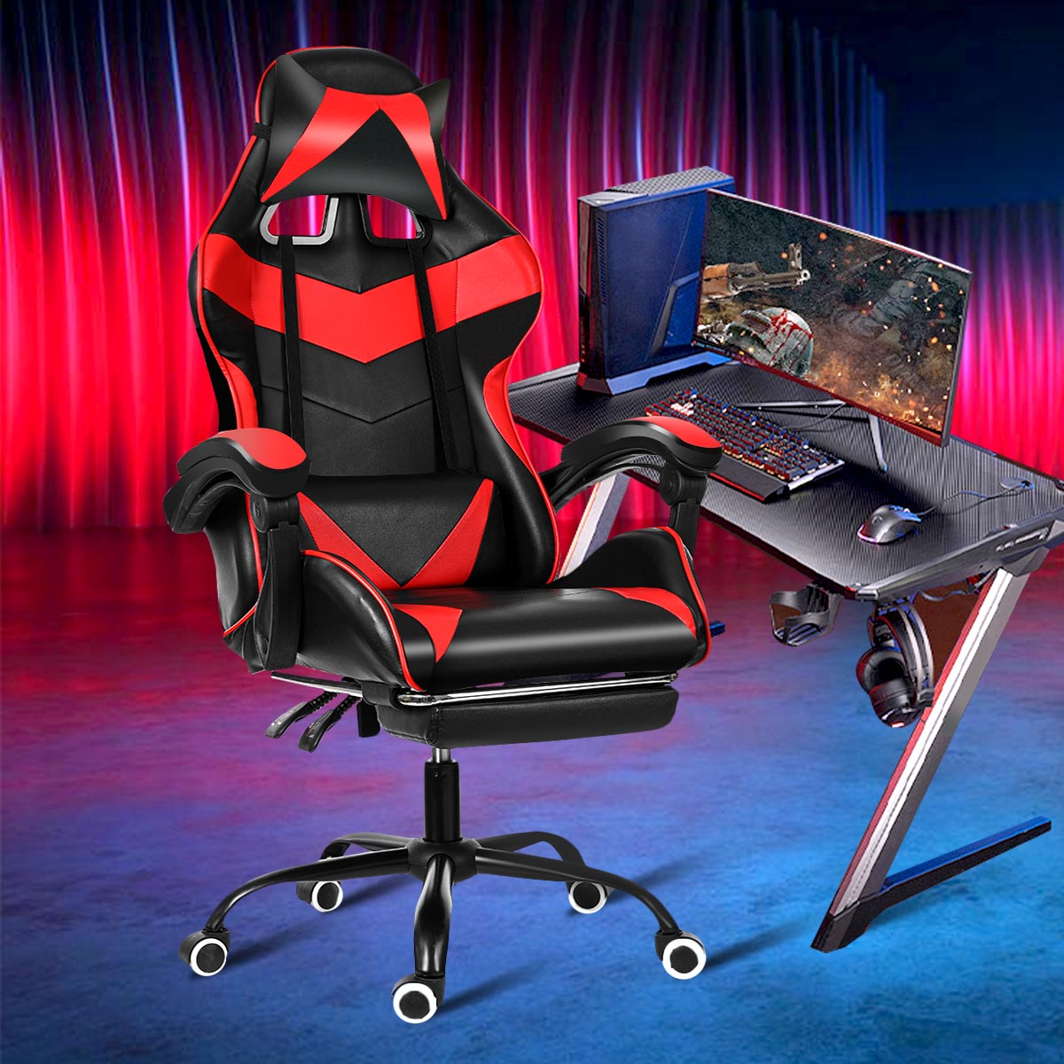Hde44499672c94053baa27d4bcb211435A - Office Gaming Chair WCG Gaming Chair Home Internet Cafe Gamer Chair Ergonomic Computer Office Chair Swivel Lifting LyingFootrest