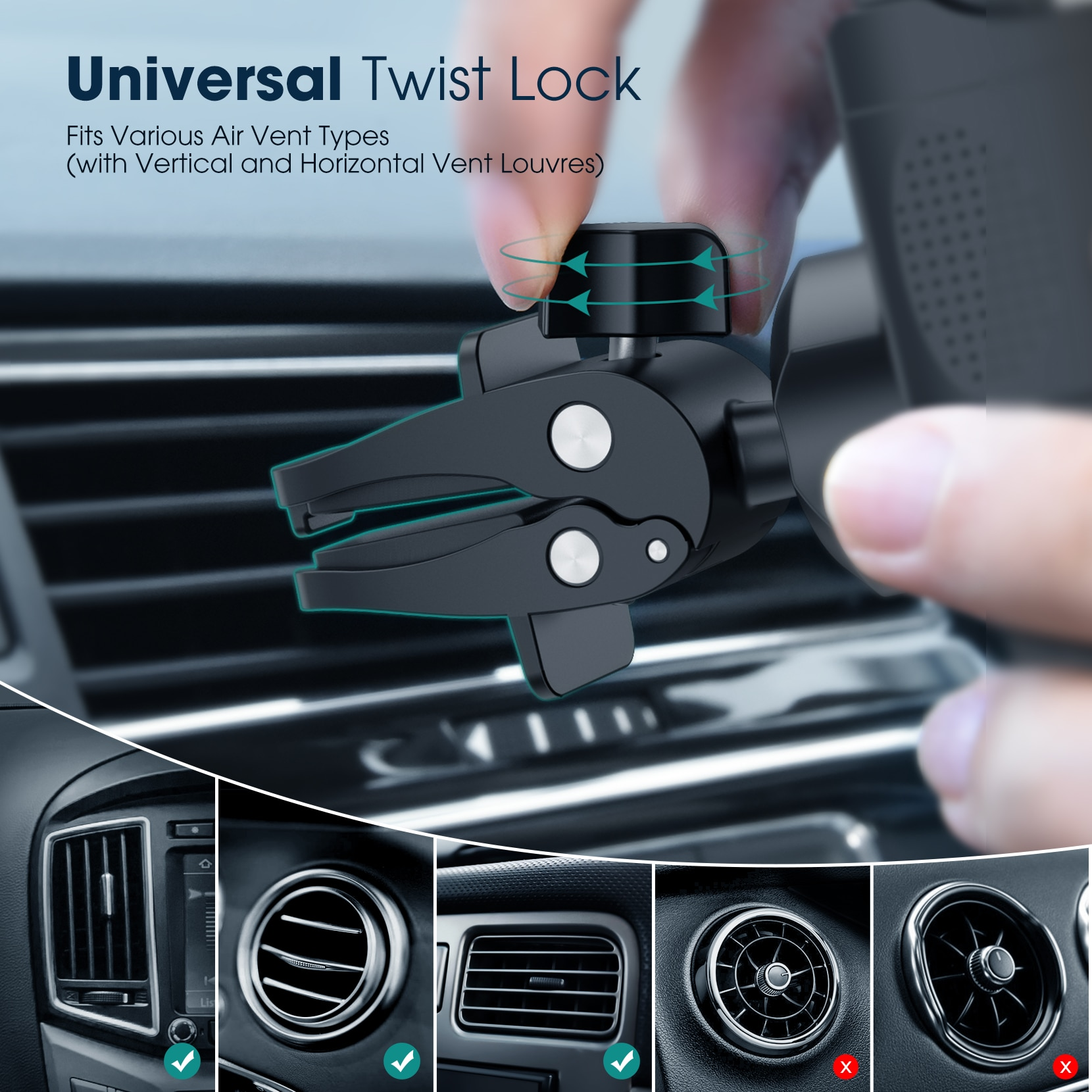 He08b42b9562640cabb7679e76a60971at - Mpow CA174 Universal Car Phone Mount Air Vent Car Phone Holder with Stable Clip Compatible with iPhone 12 11 Pro Max XS 8 Galaxy