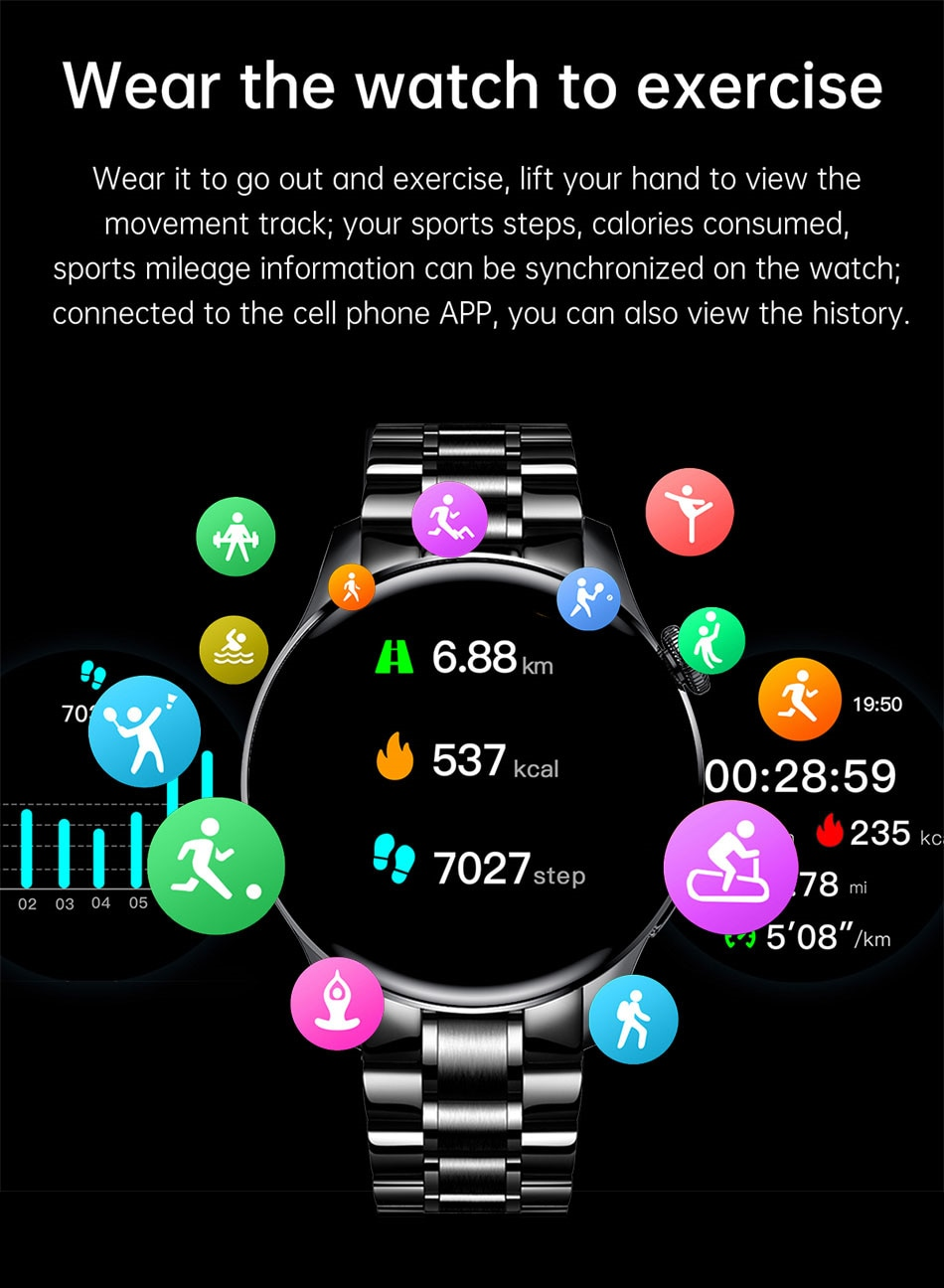 He12e04e734114ea49995b0eba1e951cd5 - LIGE New Bluetooth Call Smart watch Men Full touch Screen Sports fitness watch Bluetooth is Suitable For Android ios Smart watch