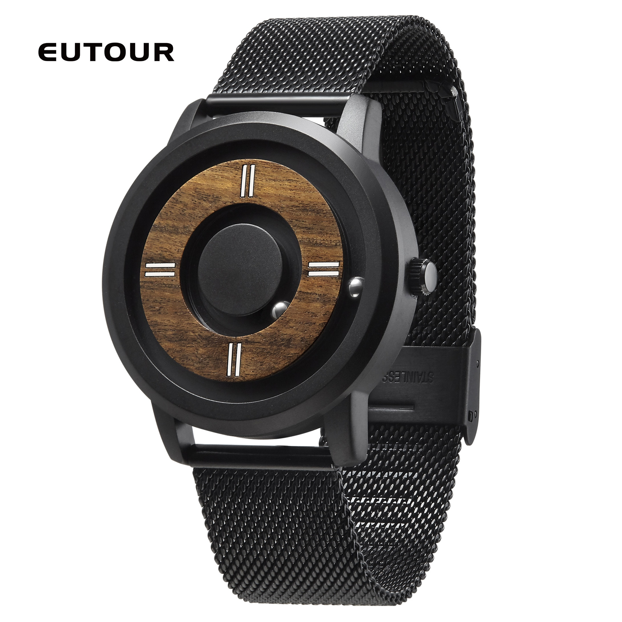 He2db8f13a5cc4616953008b92ba0f871b - EUTOUR Magnetic ball Wooden dial watches Luxury Brand Mens fashion Casual Quartz Watch Simple Men Round leather strap Wristw