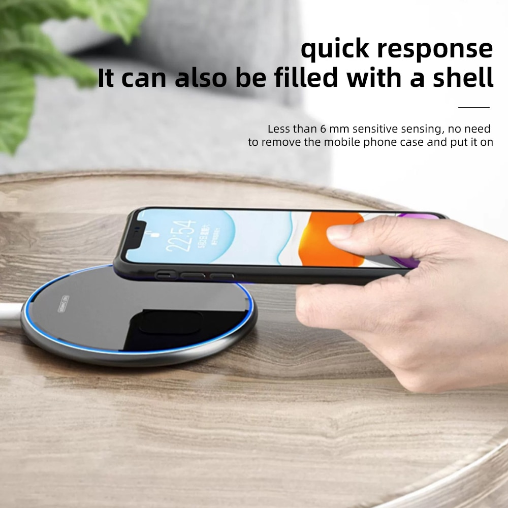 He30990a74c3c406a90f6a5da3421dd7e3 - Wireless Phone Charger 10W 15W Ultra Thin Desktop Tabletop Battery Quick Charge Fast Charger for Smartphone Aluminum Alloy