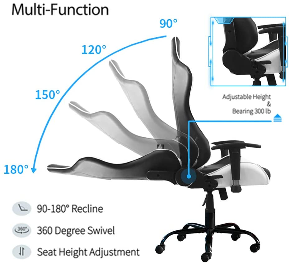 He36db9afd98e450489d5b8d09d2b6567q - Game chair computer chair home office chair reclining PU chair with armrest adjustable height (red/blue/white/grey/camouflage)