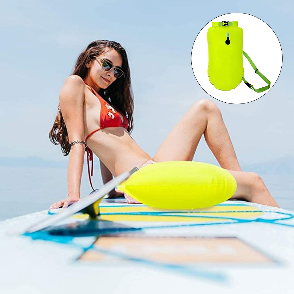 He45a47560c1e45ecb539204fb405c5f6d - Inflatable Open PVC Swimming Buoy Tow Float Dry Bag Double Air Bag with Waist Belt for Swimming Water Sport Safety bag
