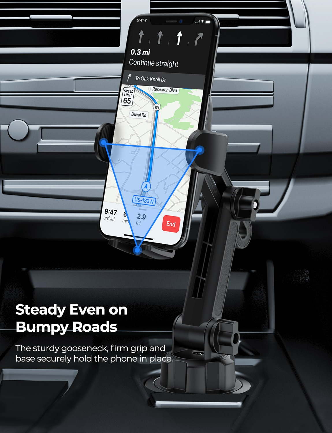 He7bb07f7f67648e392d50b4af3725adee - MPOW CA158 Phone Mount Adjustable Cup Holder Car Mount with Long Gooseneck 360 Degrees Rotation Compatible with iPhone Galaxy