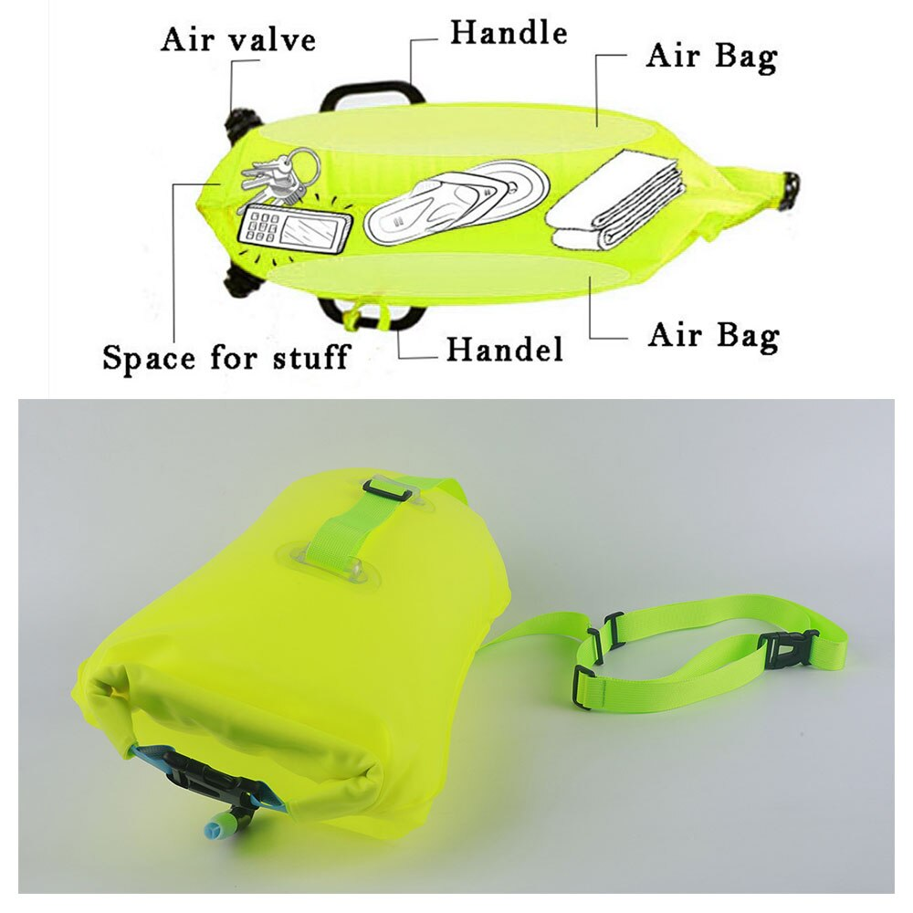 He9b89467ae984f48accbacf844b41fa0K - Inflatable Open PVC Swimming Buoy Tow Float Dry Bag Double Air Bag with Waist Belt for Swimming Water Sport Safety bag