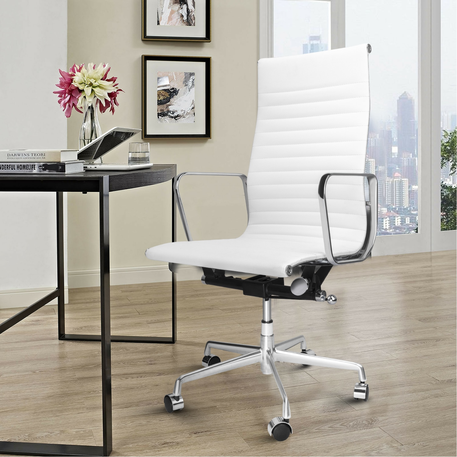 He9d11a7eaad44874a5496bf843b9484dv - High Back Aluminium Group Office Chair Replica Swivel Chair with Armrests Chromed Base Gaming Chair for Office Meeting Room