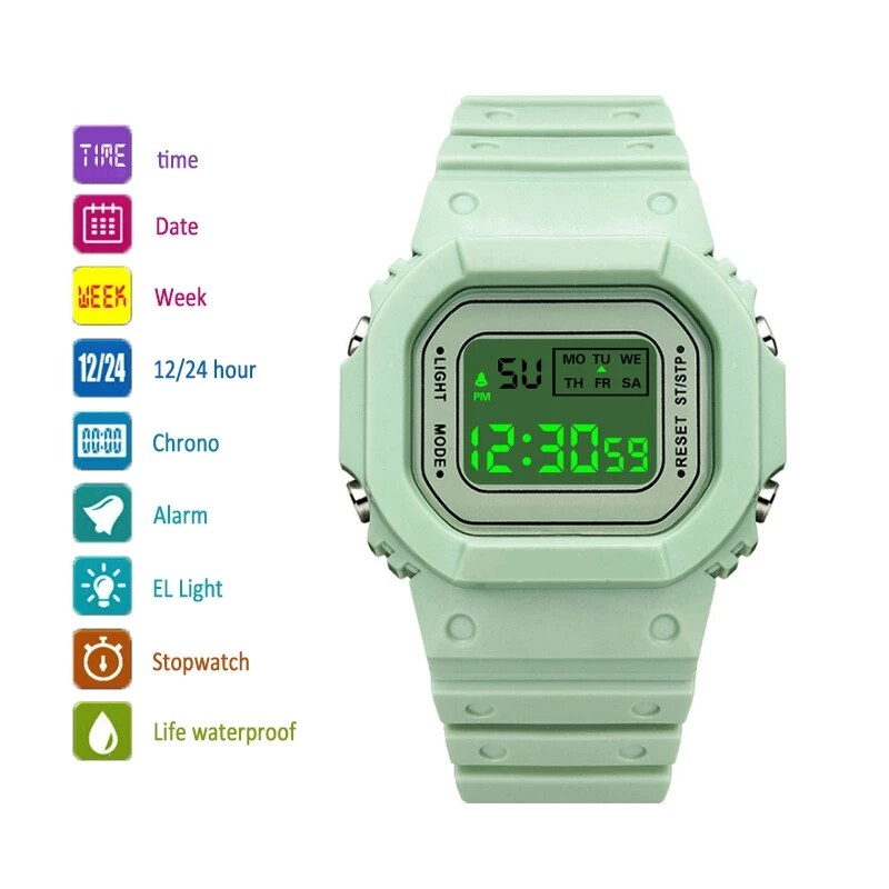 Heae4363820b94575a25f00fa817817e7P - New Fashion Transparent Electronic Watch LED Ladies Watch Sports Waterproof Electronic Watch Candy Multicolor Student Gift