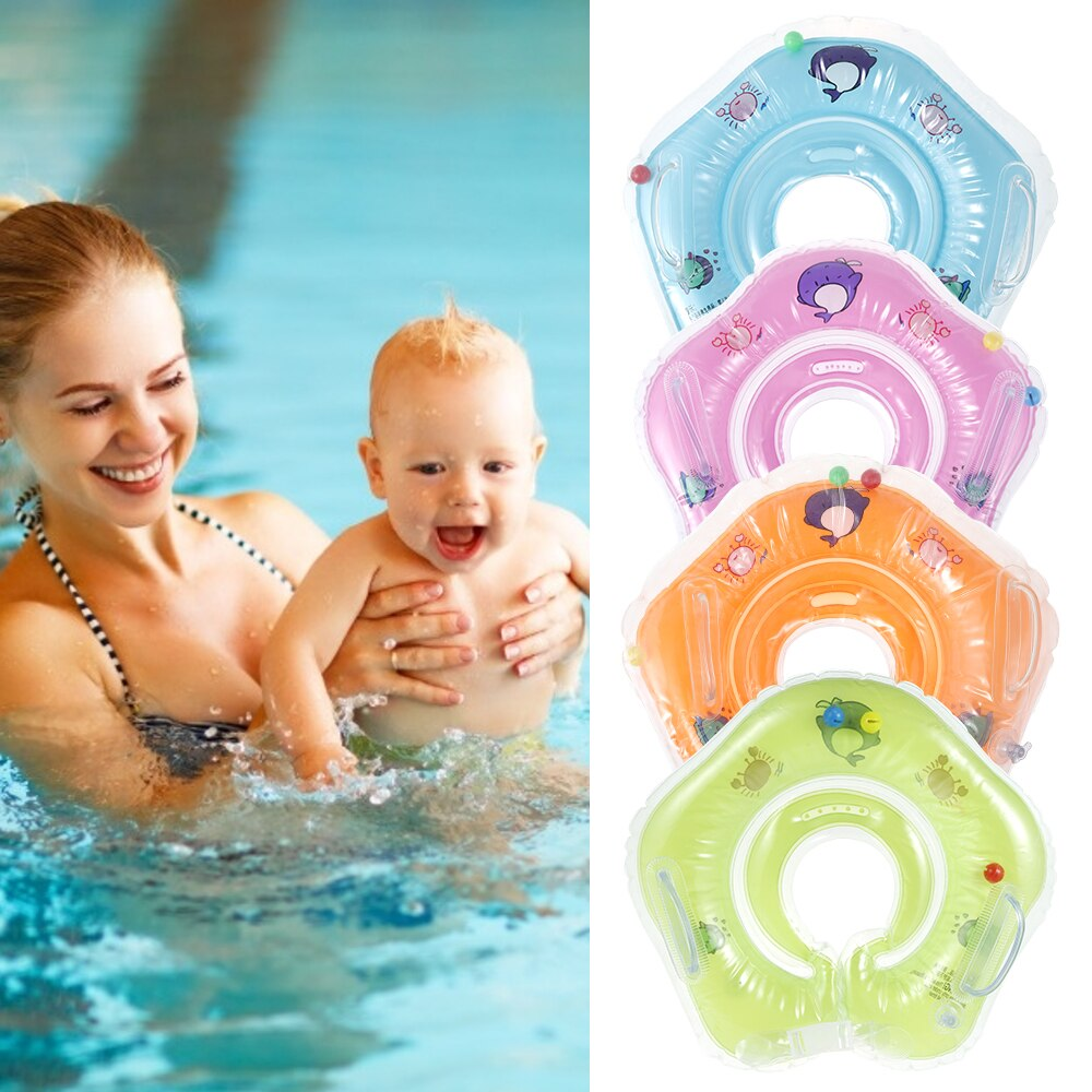 Hebaca80568694764b641b8b54f55280aK - Swimming Baby Accessories Neck Ring Tube Safety Infant Float Circle for Bathing Inflatable Flamingo Inflatable Water