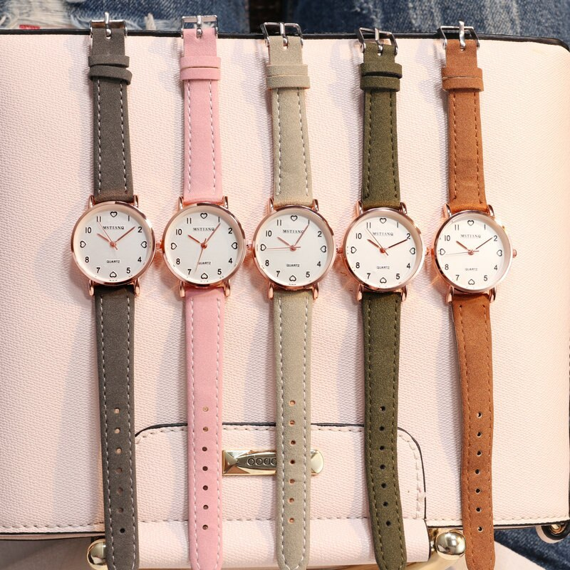 Hee705e14b91e4bf99496a482ddd2eb30D - Simple Vintage Women Small Dial Watch Sweet Leather Strap Wrist Watches Gift