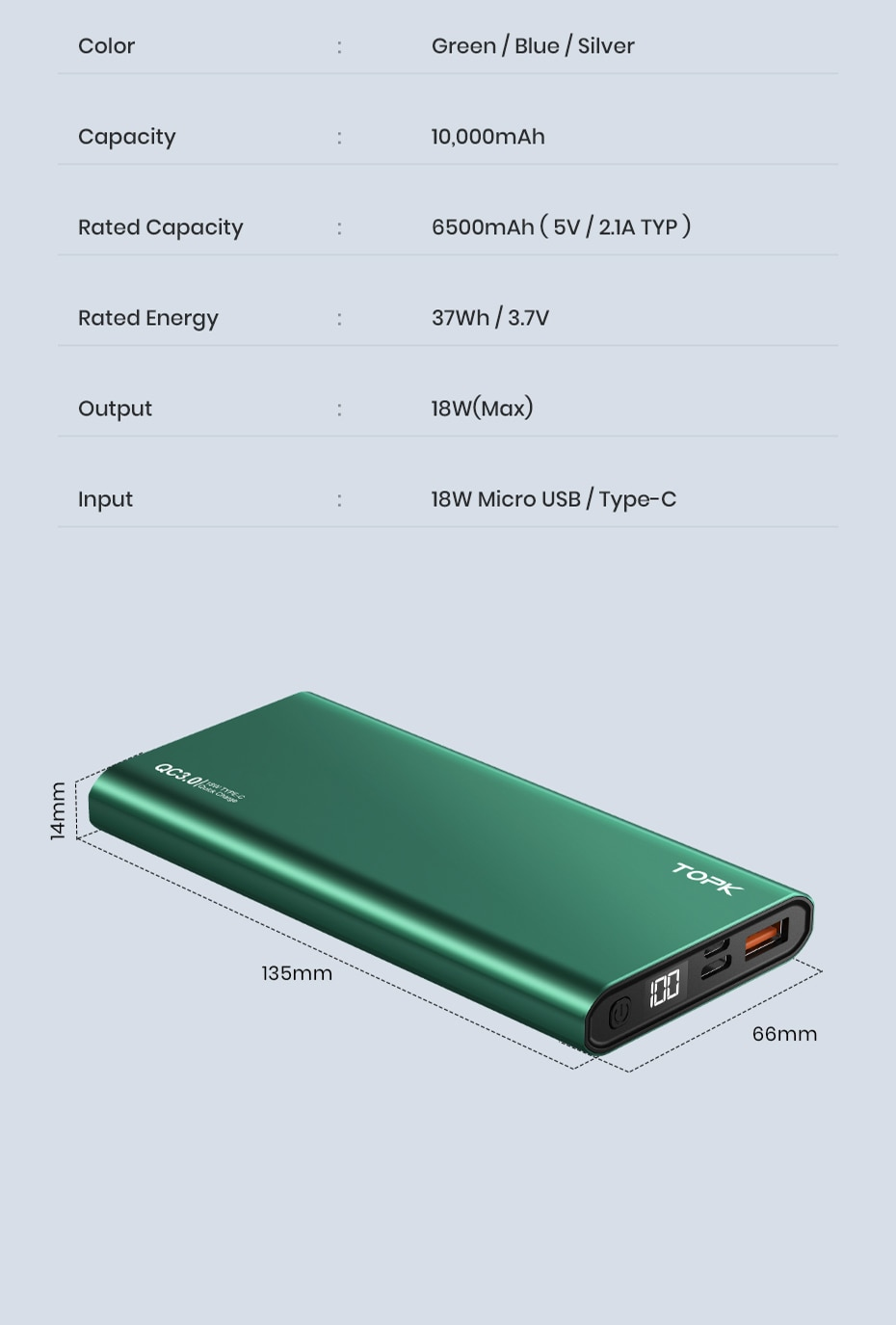 Heeb56736c458485e92e3e099a1e0d3a8C - TOPK I1006P Power Bank 10000mAh Portable Charger LED External Battery PowerBank PD Two-way Fast Charging PoverBank for Xiaomi mi