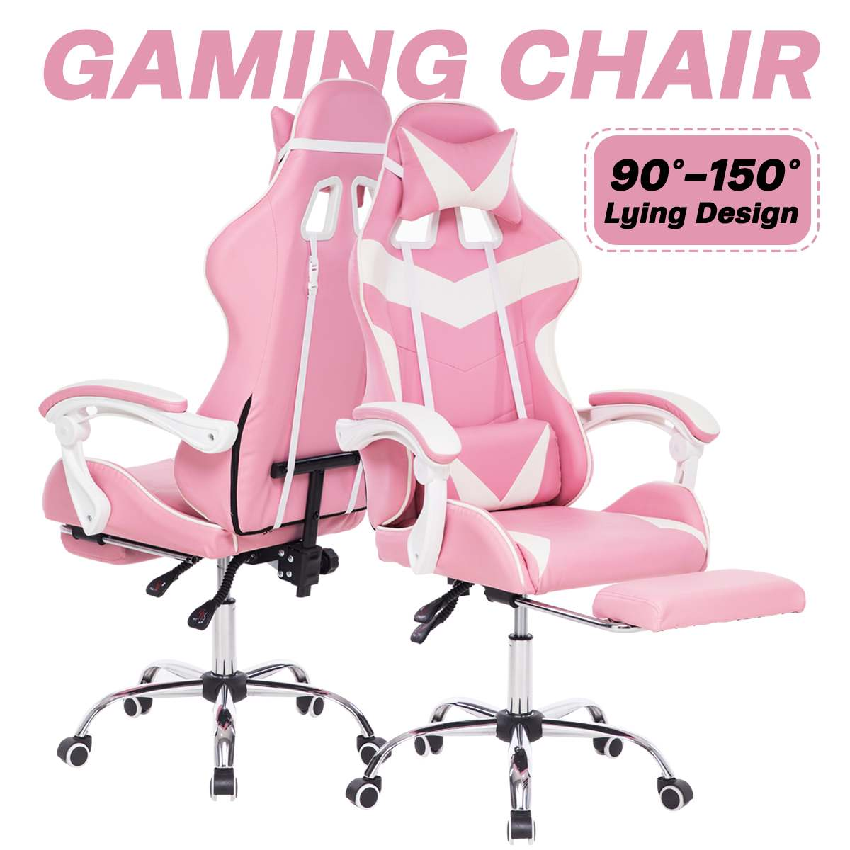 Heebcbb8e05384f43b6e79e793c72b264h - Office Chair WCG Computer Gaming Chair Reclining Armchair with Footrest Internet Cafe Gamer Chair Office Furniture Pink Chair