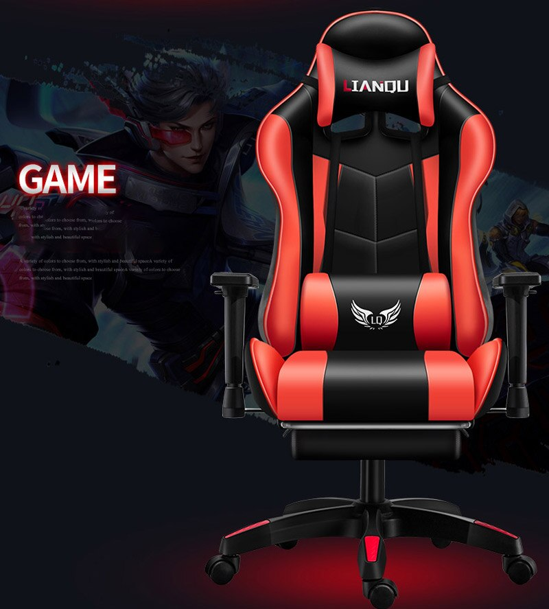 Heec5a252f36e4f9a99bff60b81b88b60Q - Computer Gaming Chair Safe And Durable Office Chair Ergonomic Leather Boss Chair Wcg Game Rotating Lift Chair High Back Chair