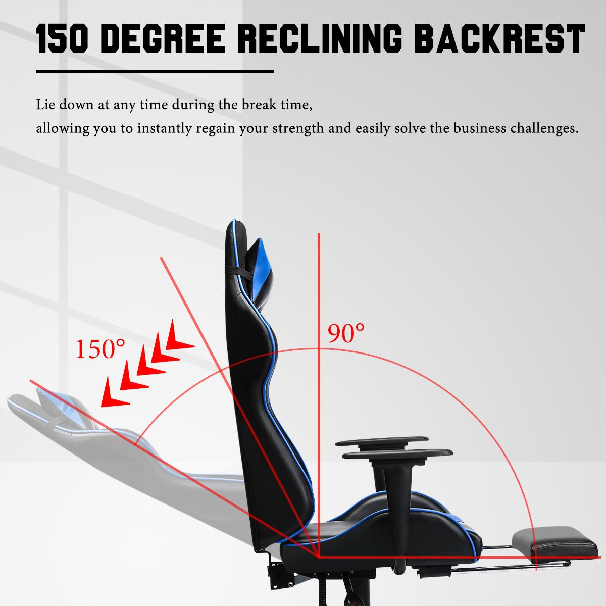 Hefcd723a4cd4452bba044f32a42fa990x - 155° Gaming Chairs with Footrest Ergonomic Office Chair Adjustable Swivel Leather High Back Computer Desk Chair with Headrest