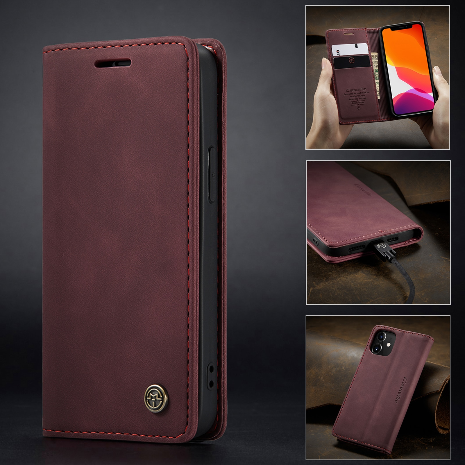 Heffbdd0658474454ac3e000e0a8476648 - Magnetic Leather Flip Case For iPhone 12 / Pro / Pro Max PU Leather Fitted Bumper Soft Retro Flip Case Book Wallet Cover