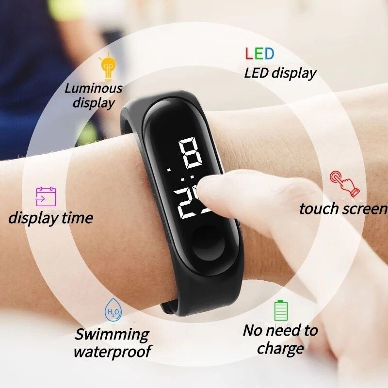 Hf055152007364e9a9b42caba883acb38k - M4 Men's Watch Women's Clock Heart Rate Blood Pressure Monitoring Tracker Fitness Wristband Bluetooth Connection Waterproof