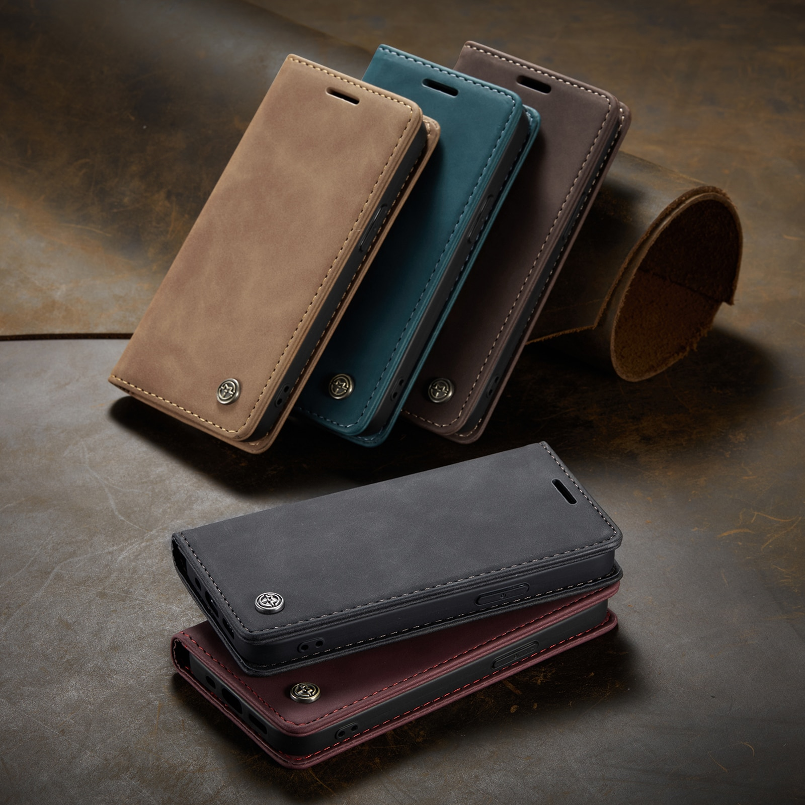 Hf1759b9499fa4473807b5569b88f256fL - Magnetic Leather Flip Case For iPhone 12 / Pro / Pro Max PU Leather Fitted Bumper Soft Retro Flip Case Book Wallet Cover