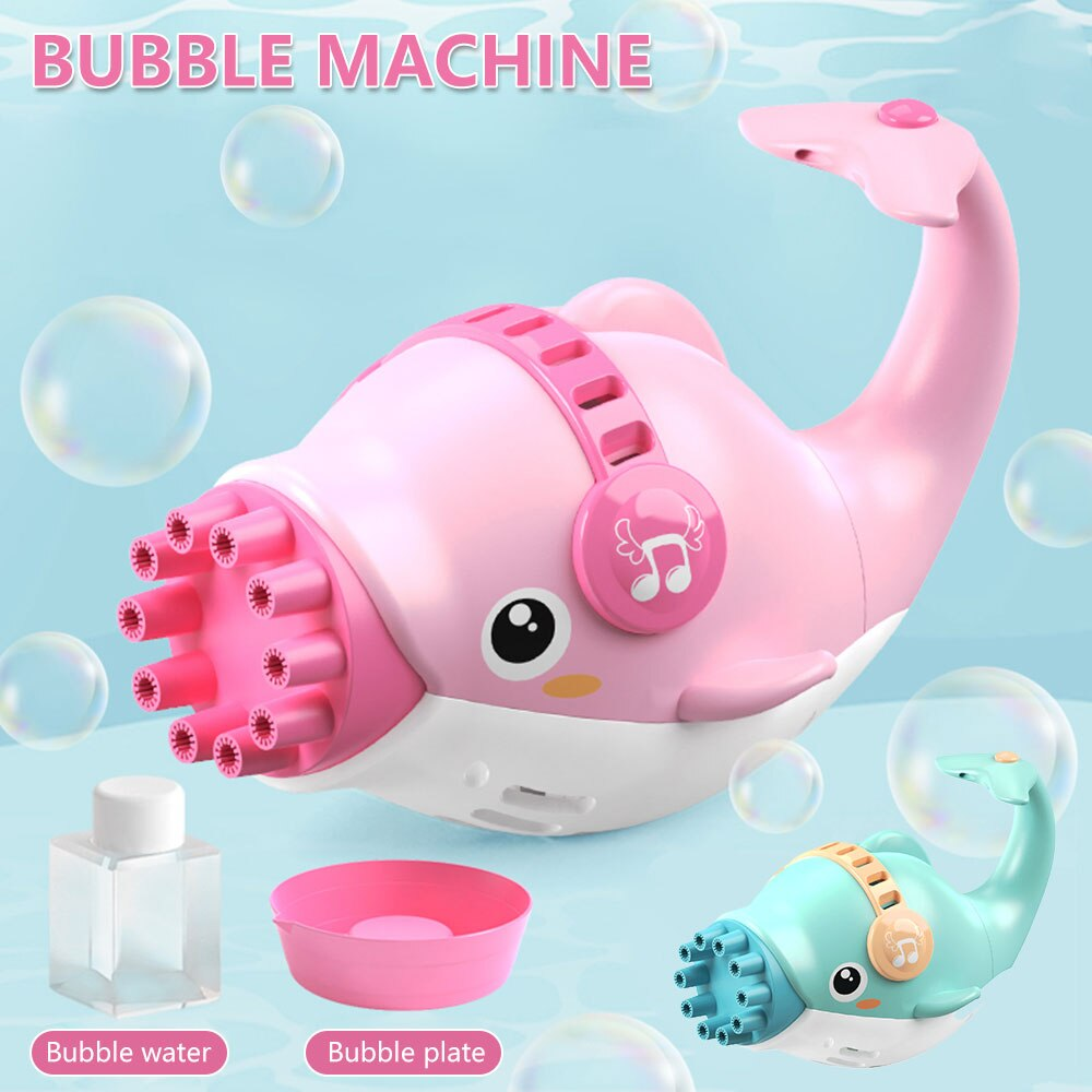 Hf398976f1e704d46912586d717857a2f0 - Dolphin Gatling Bubble Gun Machine Electric Automatic Soap Blower Maker Summer Swimming Toy