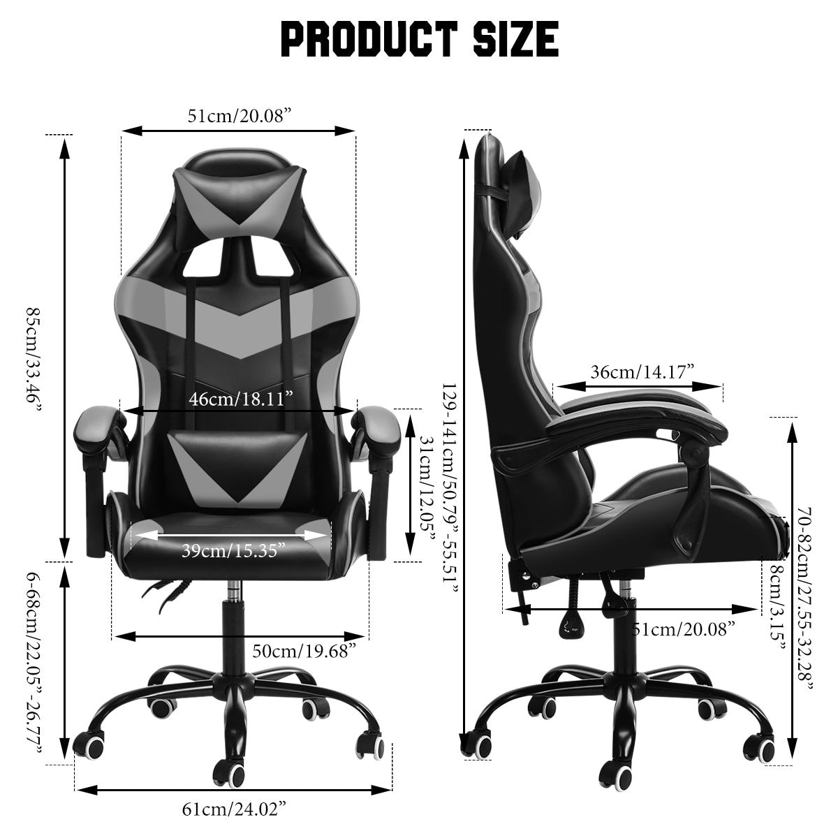 Hf438b042537b4934b36a46d47e1f40baA - Adjustable Office Chair Gaming Ergonomic Leather Racing Desk Chairs Gaming Computer Chaise Game Chairs Reclining Seating