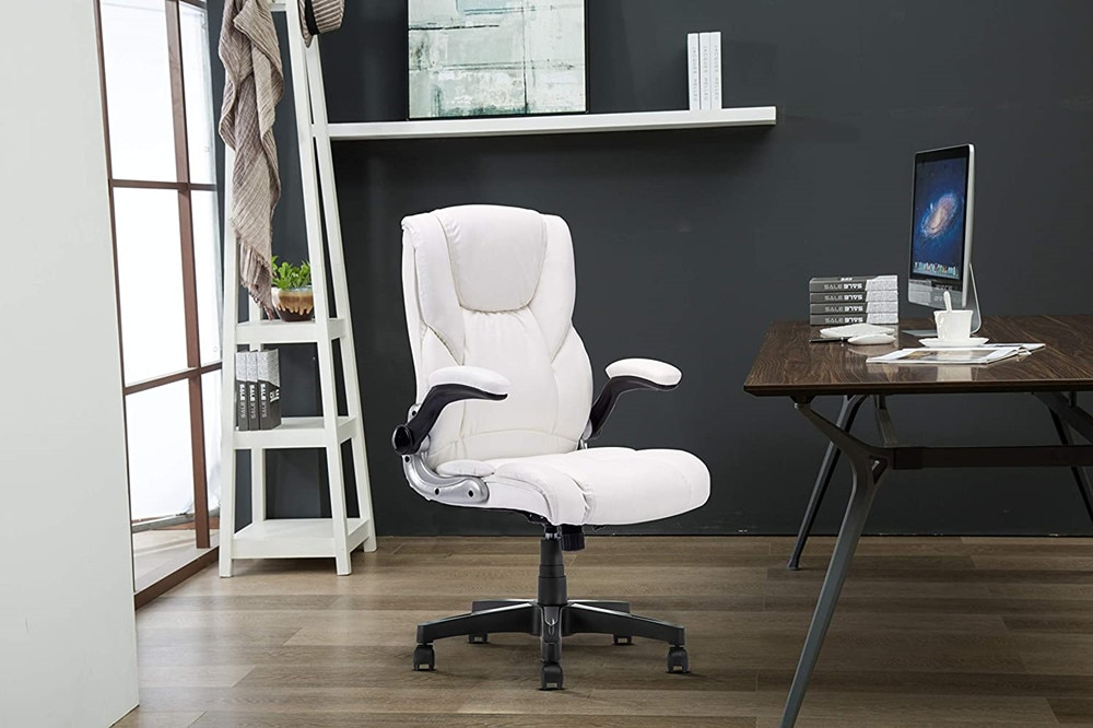 Hf63ccb8f677e439281492289cfa7068a4 - YAMASORO Ergonomic Office Chair with Flip up Arms and Wheels Executive Office Desk Chairs Boss Leather Brown Computer Chairs