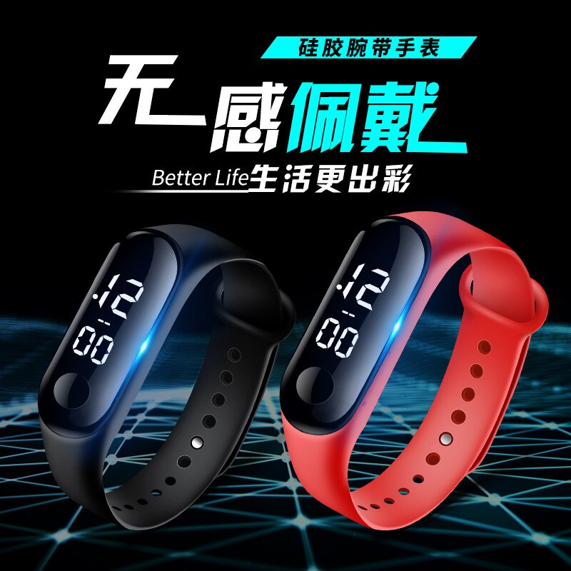 Hf6e5d5cc7c0048dabc54e2dc3bcfb94fN - M3 Led Wristwatch Fitness Color Screen Smart Sport Bracelet Activity Running Tracker Heart Rate for Men Women Silicone Watch