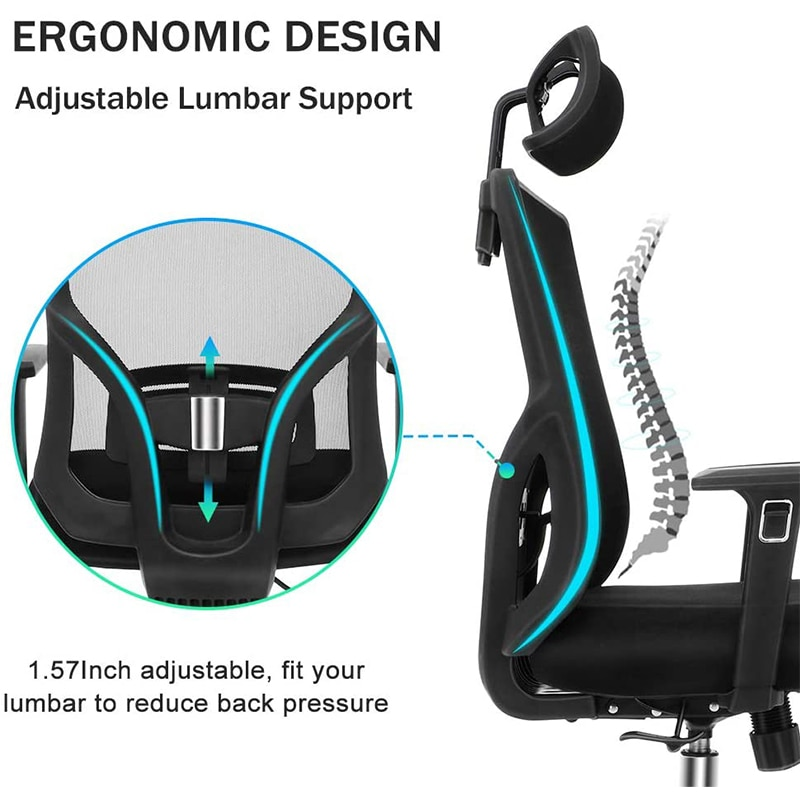 Hf8c6c84243814605ba94b60fb20c7c07n - Quality Office Chair Black Swivel Mesh Computer Ergonomic Chair High Back With Adjustable Armrest Head Support Height Adjustable