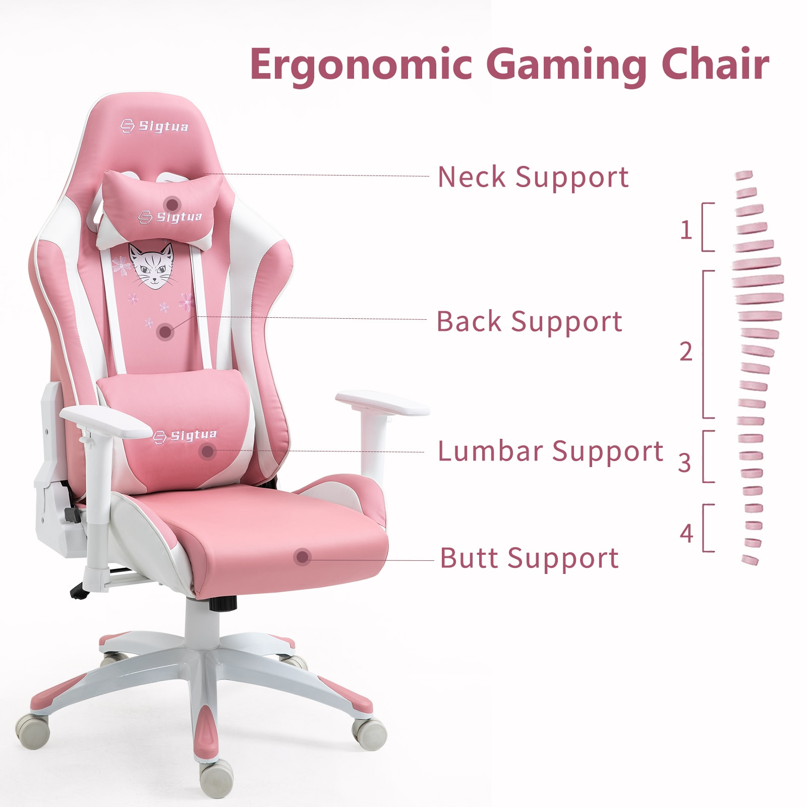 Hf9e694b15cb5446fb7be0f6901b00954z - Sigtua Pink Gaming Office Chair Height-adjustable Armrests Computer Chair Ergonomic Swivel Executive Chair with High Backrest