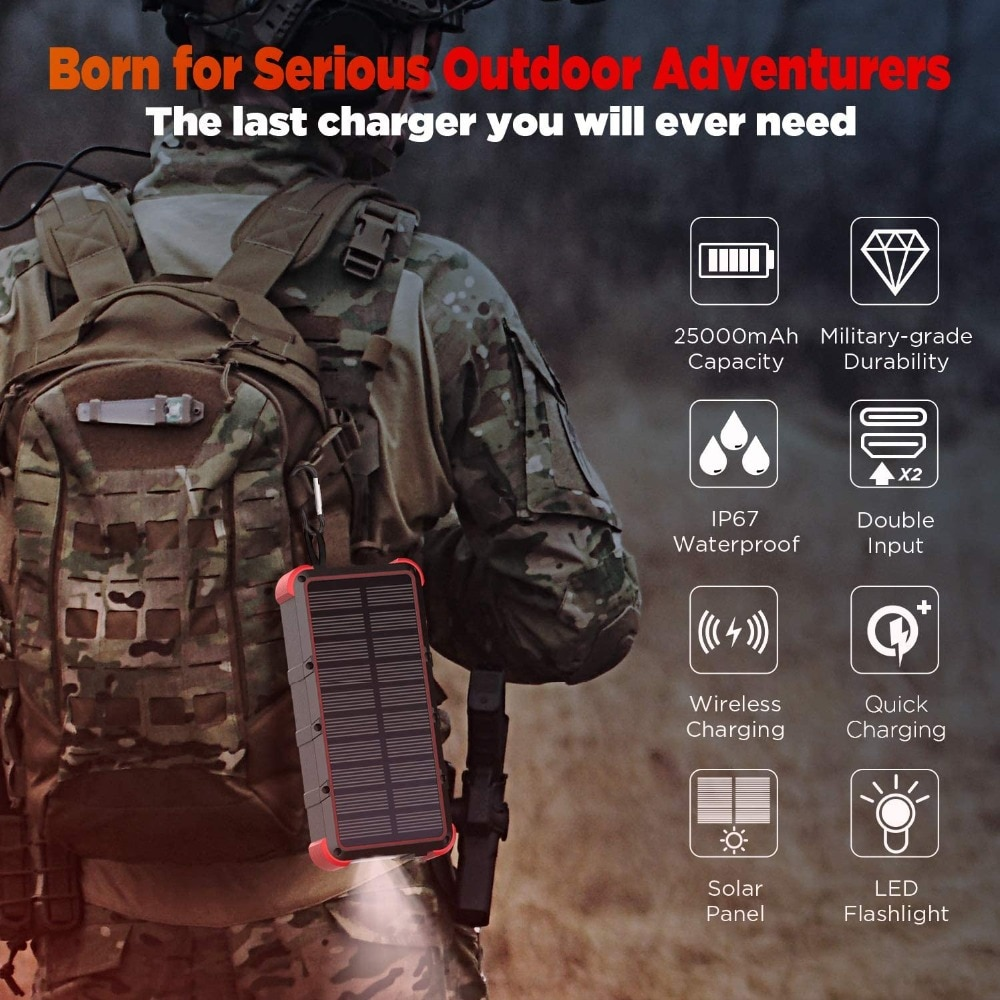 Hfae11525f77d4153a0cc387c20321d71d - Outxe Outdoor 25000mAh Powerbank Rugged Solar Power Bank Wireless IP67 Waterproof Quick Charge Poverbank Battery with Flashlight
