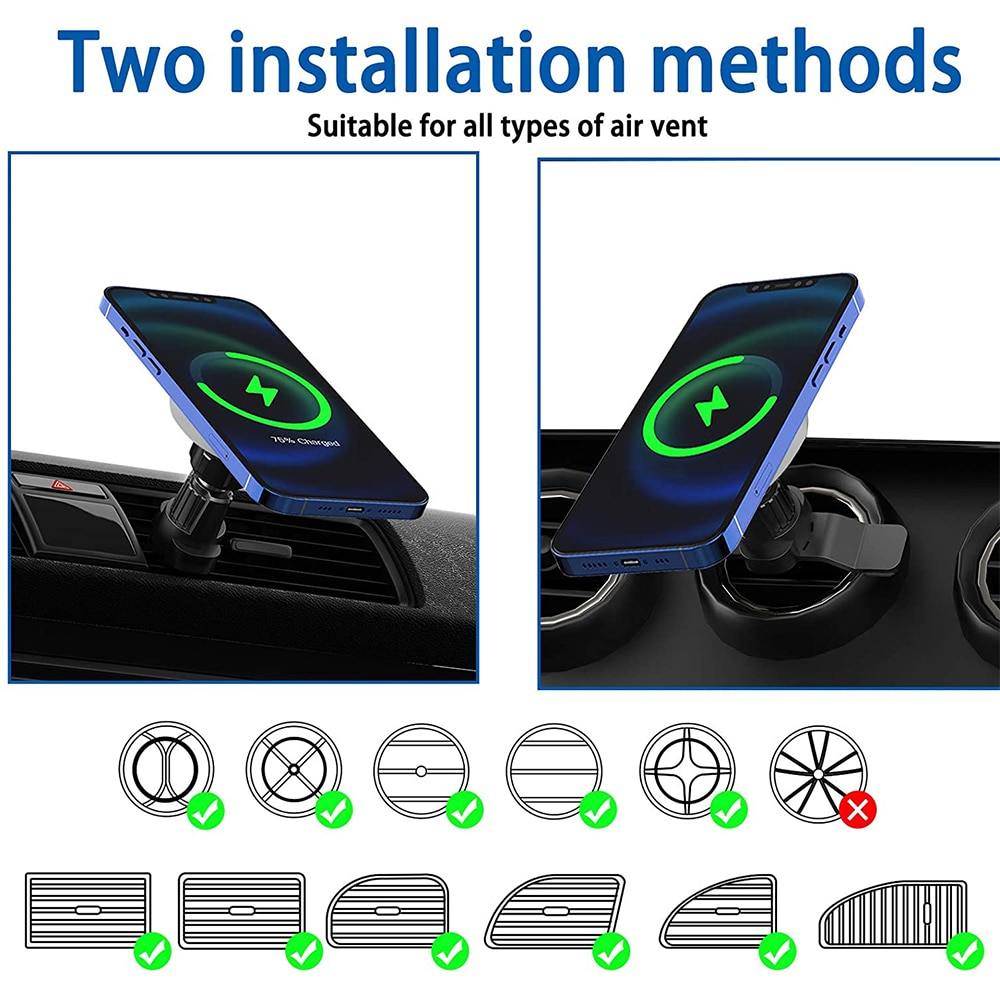 Hfc93776ebcff481b969ad3e79db7ef365 - Fivetech 15W Fast Car Wireless Charger For iPhone 12 Pro Max/12 Mini Strong Magnetic Car Charging Stand Car Phone Holder