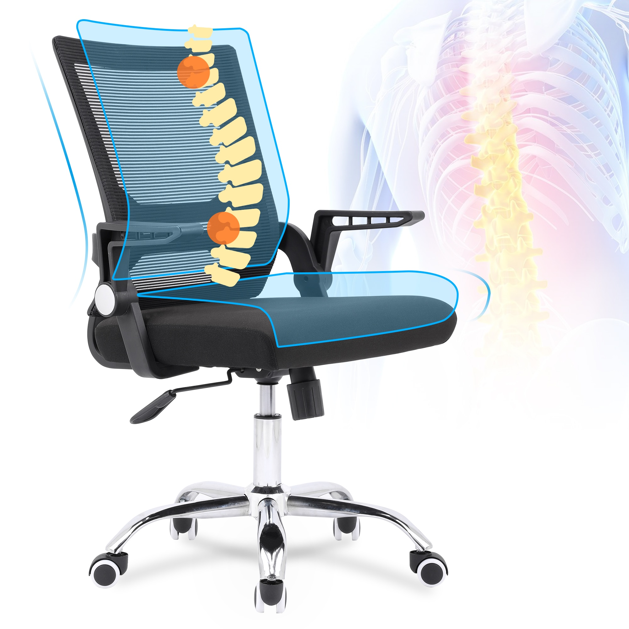 Hfd206d94142a4c708c1270639ff4b9eaa - Sigtua Swiveling Desk Chair Breathable Height-adjustable PC Chair Ergonomic Executive Black Computer Office Chair