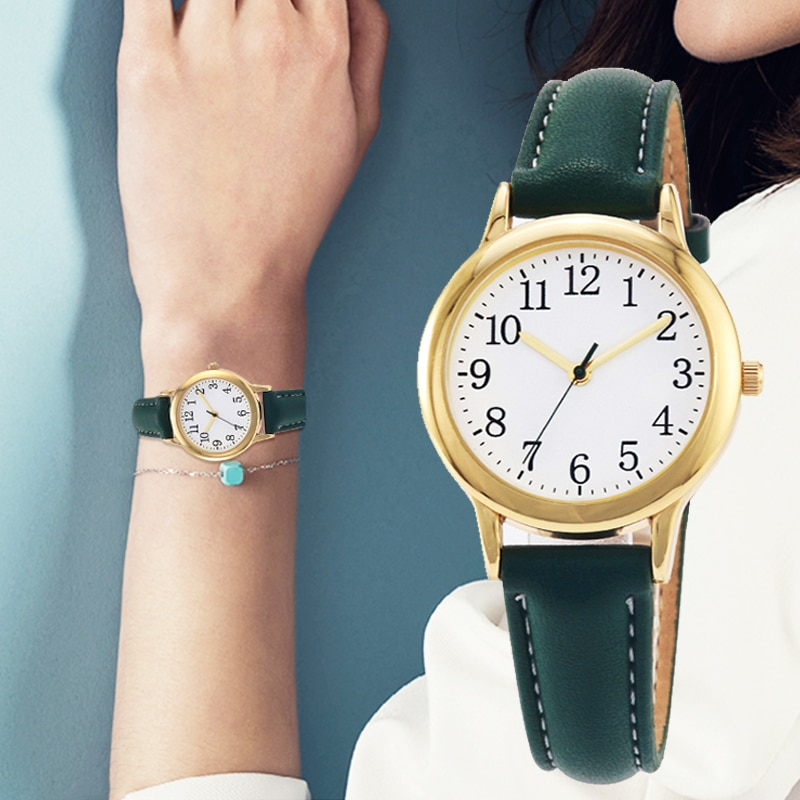 Hfdd4231eff5e47c29f90fe6ed72d64c7Y - Japanese Movement Women Quartz Watch Easy to Read Arabic Numerals Simple Dial PU Leather Strap Lady Candy Color