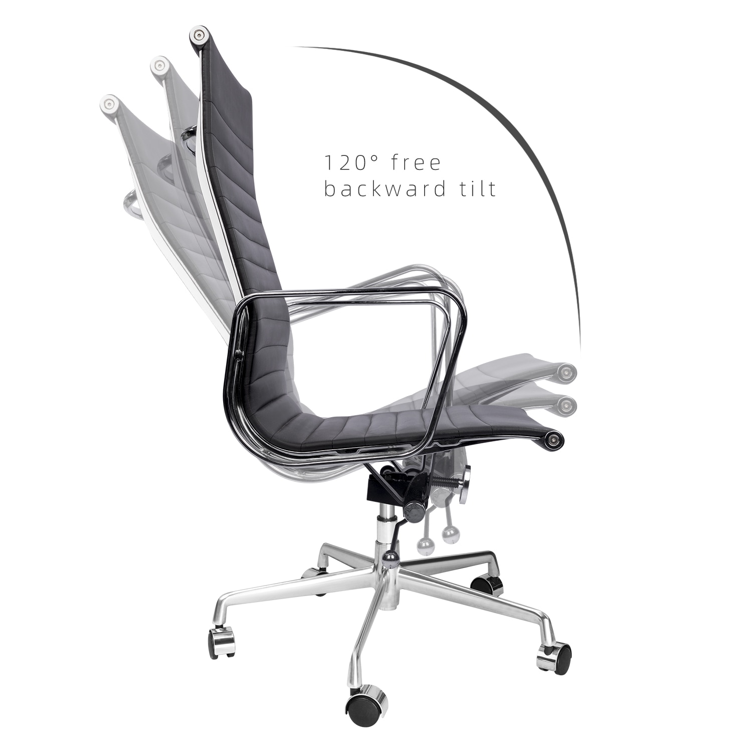 Hfe7c9a1eb6cc485dbe029a6918631fdcs - Furgle Executive Office Chair Mid Back PU Leather with Arms Rest Tilt Gaming Chair Adjustable Height with Wheels Swivel Chairs