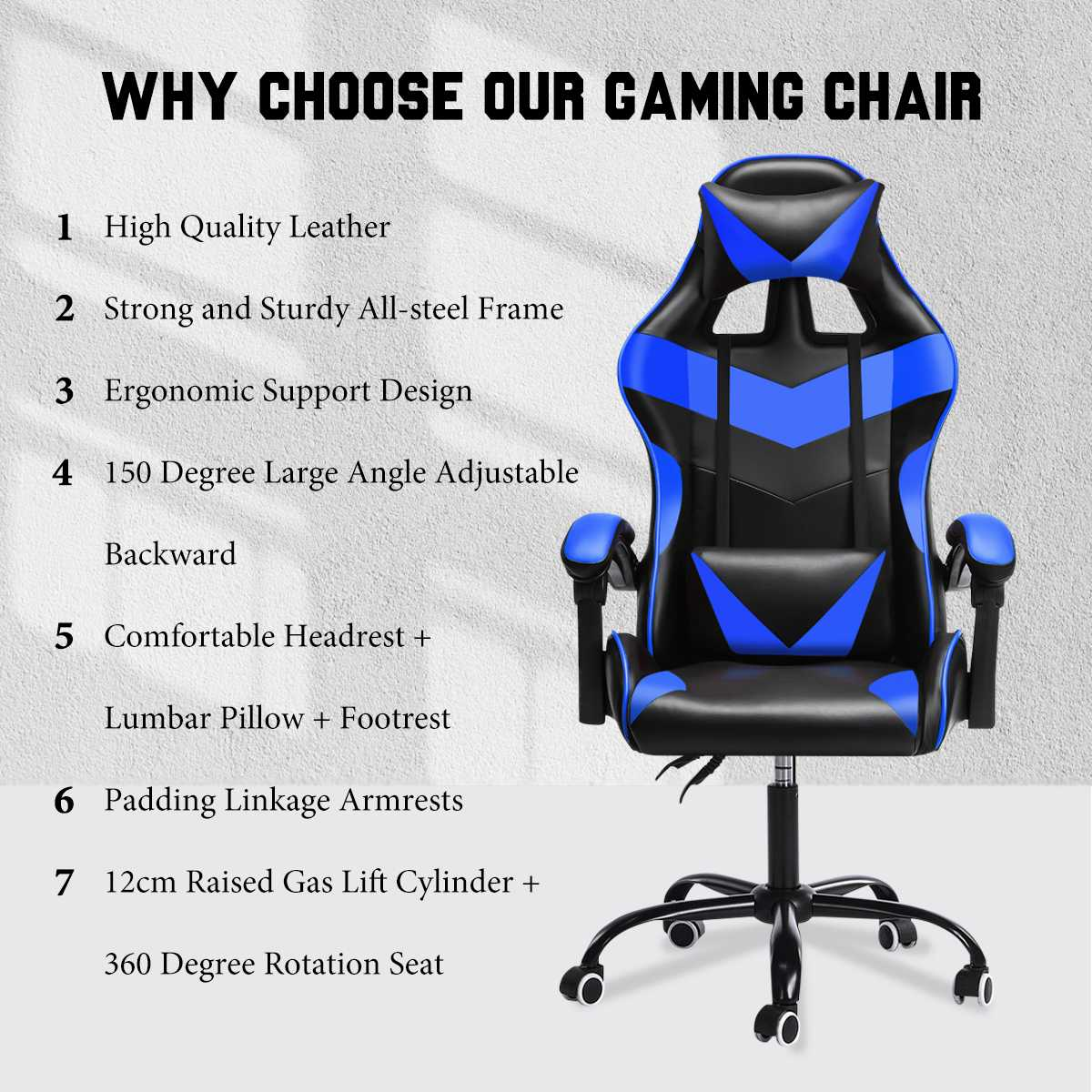 Hfececfb6646647db8cbadf071d6e967ab - Office Gaming Chair with Footrest Ergonomic Office Chairs Adjustable Swivel Leather High Back Computer Desk Chair with Headrest