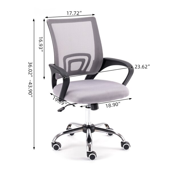 Hff0332a8fe6b4bf880b8ee625d4055cbM - Mesh Back Office Chair Gas Lift Adjustable Height Swivel Chair Durable Plastic Armrests White&Black[US-Stock]