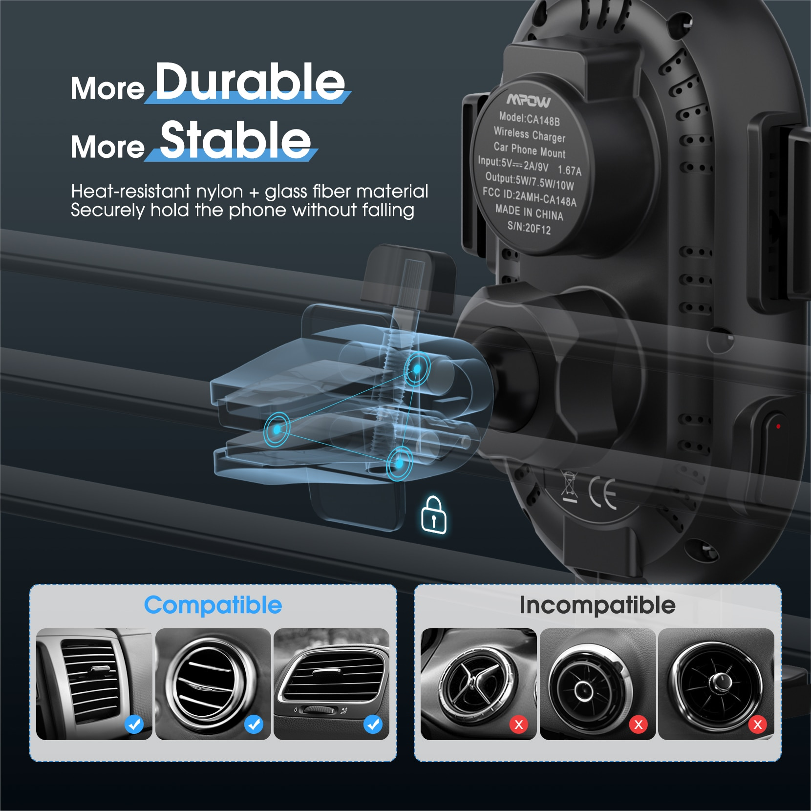 Hff307d9d917b4182bd64ba992a7f09a58 - MPOW CA164 Wireless Car Charger 10W Auto-clamping Qi Fast Charging Car Mount with Built-in Battery Cup Holder Vent Phone Holder
