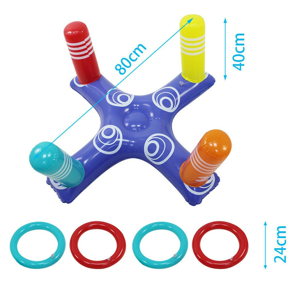 Hffd77d89b6eb4ab898ec546cf65ef9a06 - Inflatable Ring Toys Swimming Pool Floating Ring Summer Water Beach Cross Ring Toss Game With 4PCS Rings For Children /Adults