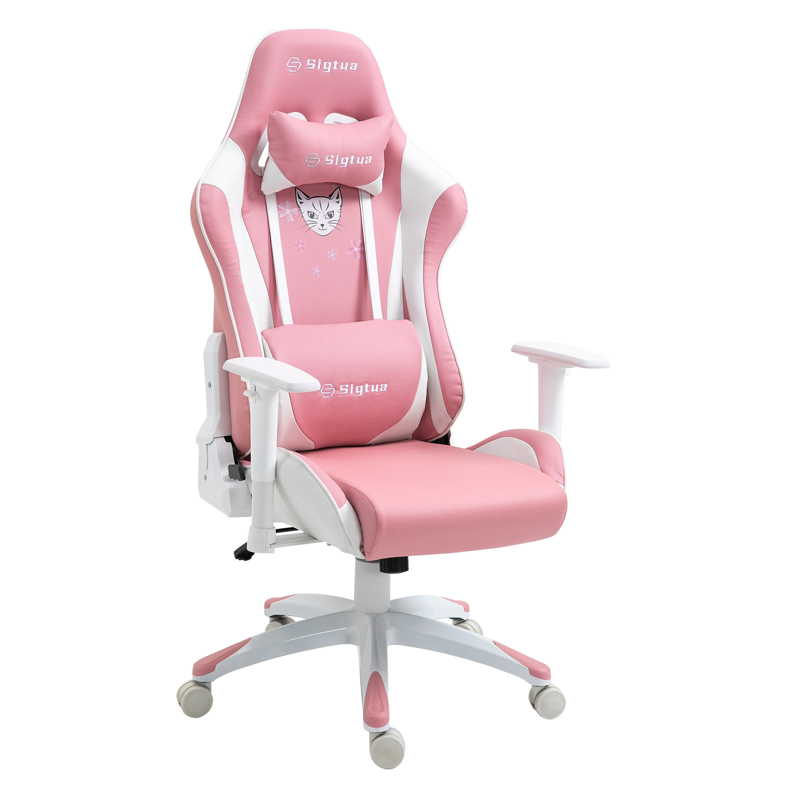 U86204076ae1c4b108fd154c9a810d696T - Sigtua Pink Gaming Office Chair Height-adjustable Armrests Computer Chair Ergonomic Swivel Executive Chair with High Backrest