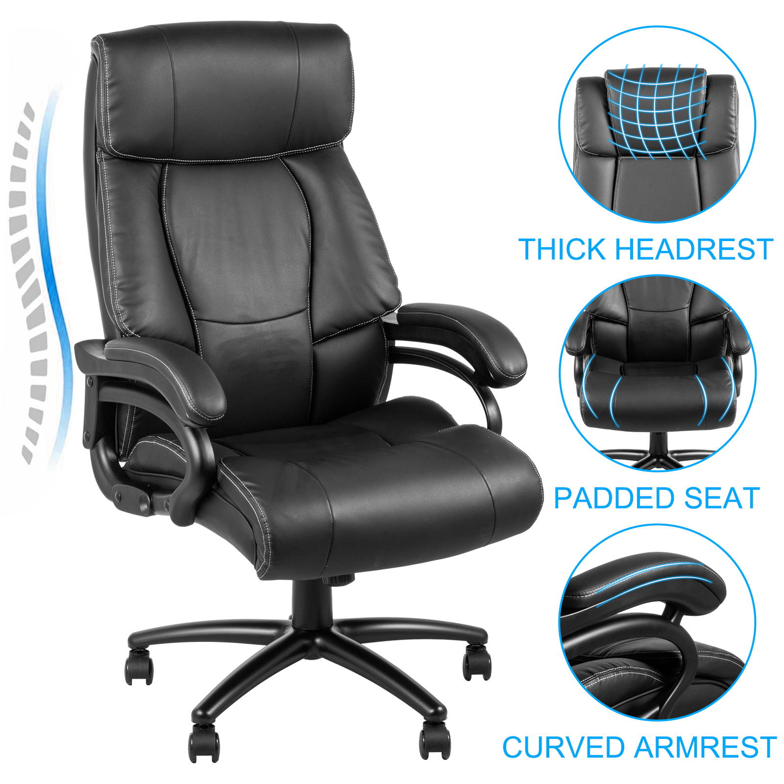 executive chair m103 2 - VEVOR Executive Chair High Back Office Chair Adjustable Swivel Executive Office Chair with Headrest Reclining Computer Chair