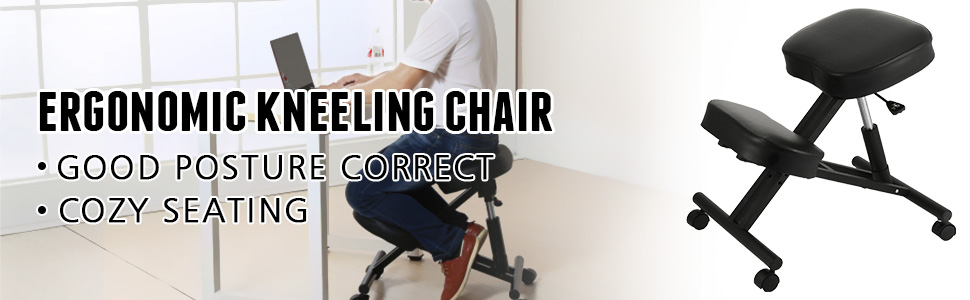 kneeling chair a100 1 - VEVOR Ergonomic Kneeling Chair Adjustable Kneeling Stool Thick Comfortable Cushions for Office Home Balancing Back Body Shaping