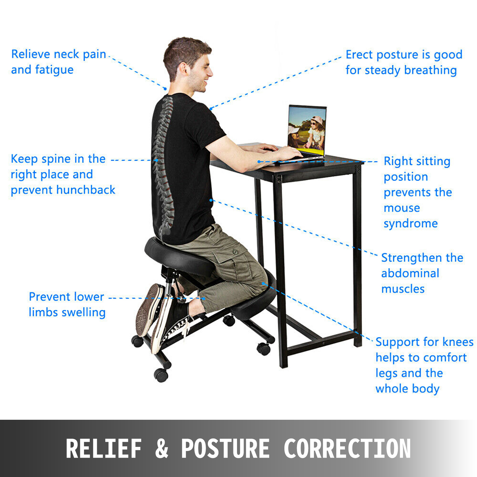 kneeling chair m100 2 - VEVOR Ergonomic Kneeling Chair Adjustable Kneeling Stool Thick Comfortable Cushions for Office Home Balancing Back Body Shaping