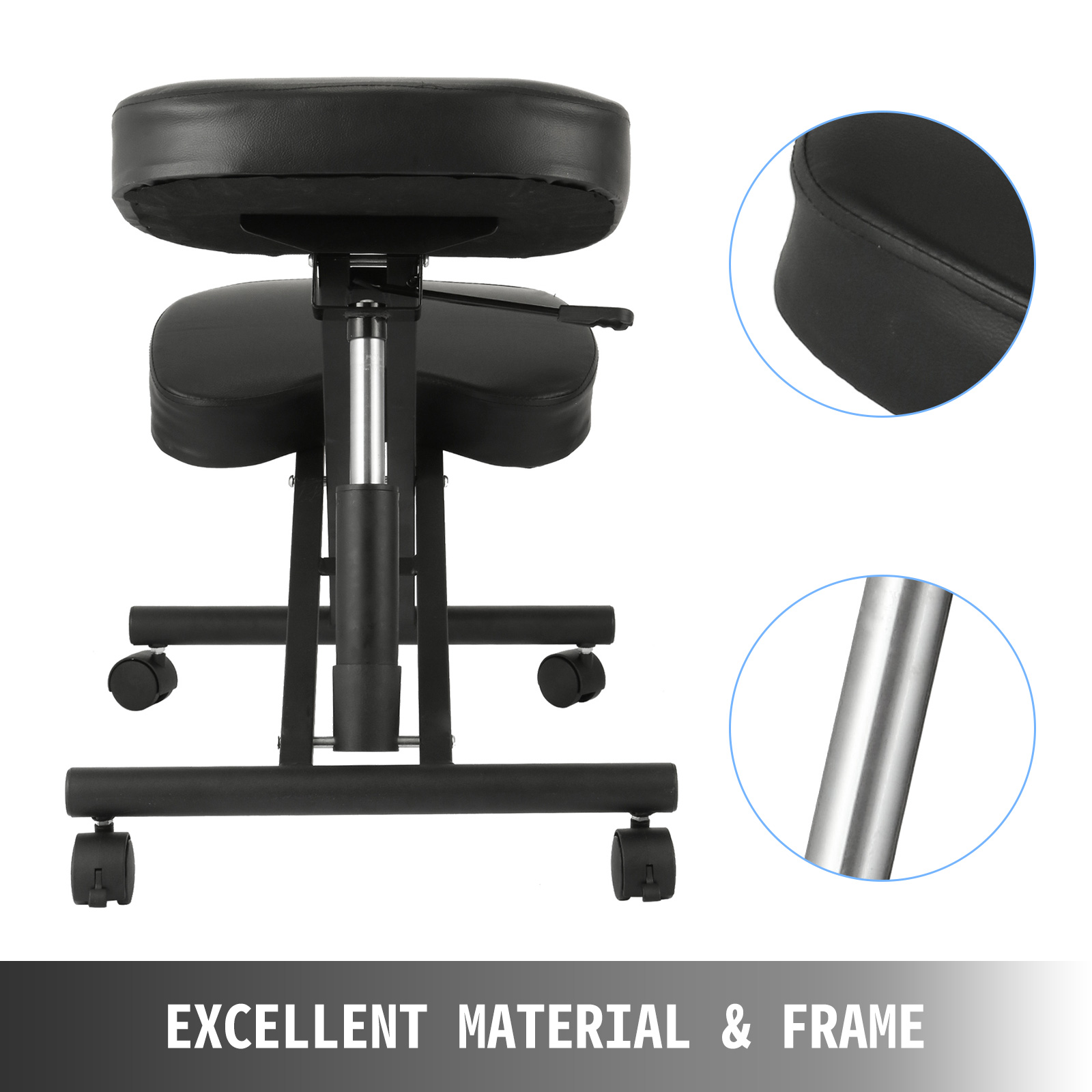 kneeling chair m100 3 - VEVOR Ergonomic Kneeling Chair Adjustable Kneeling Stool Thick Comfortable Cushions for Office Home Balancing Back Body Shaping