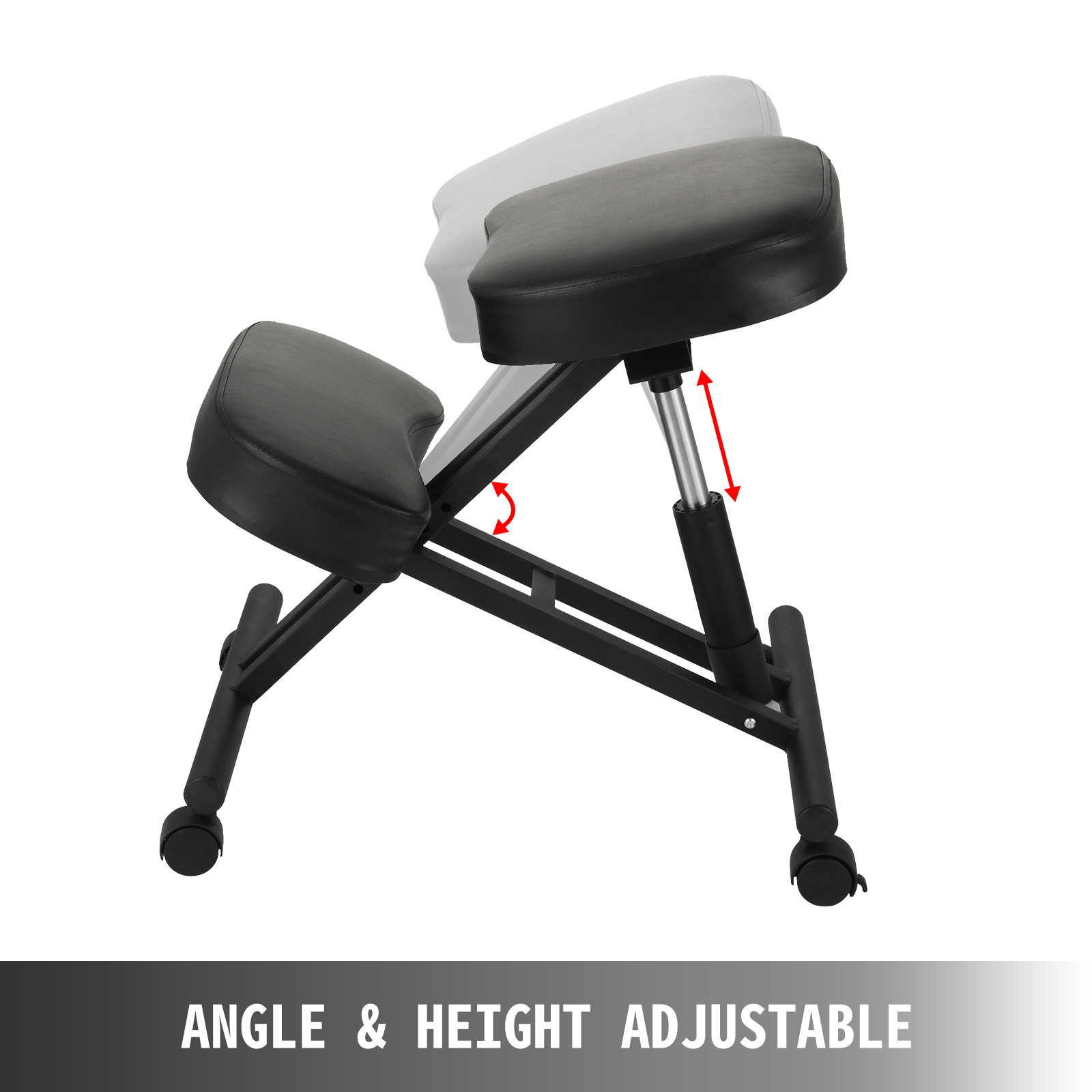 kneeling chair m100 4 - VEVOR Ergonomic Kneeling Chair Adjustable Kneeling Stool Thick Comfortable Cushions for Office Home Balancing Back Body Shaping